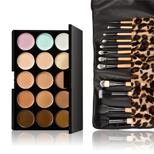 15 Colors Contour Face Cream Makeup Concealer Palette with 12pcs Leopard Brushes