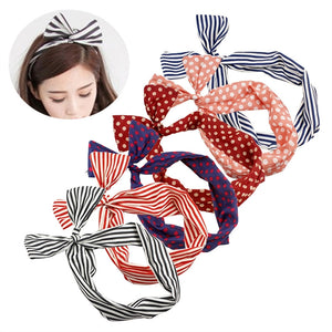 6pcs Twist Bow Wire Headband Bowknot Polka Dot Stripe Wire Hair Holders Band Wrap for Women and Girls