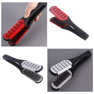 Hair Straightening Comb Styling Tools Boar Bristle Double Sided Brush Comb Clamp