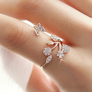 Adjustable Size Butterfly Trees Engagement Ring