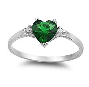 925 Sterling Silver Heart Emerald Promise Ring wedding rings