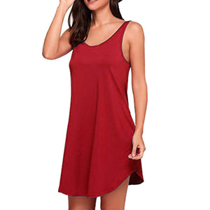Fashion Women Casual Dress Sleeveless O Neck Loose Dress Evening Party Dress