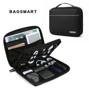 BAGSMART Travel Electronics Cases Double Layer Cable Organizer Travel Electronic Accessorie Bags Charger Wire Organizer Bags