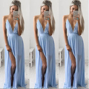 Sexy Women Summer Chiffon Sleeveless Boho Long Maxi Evening Party Beach Dress