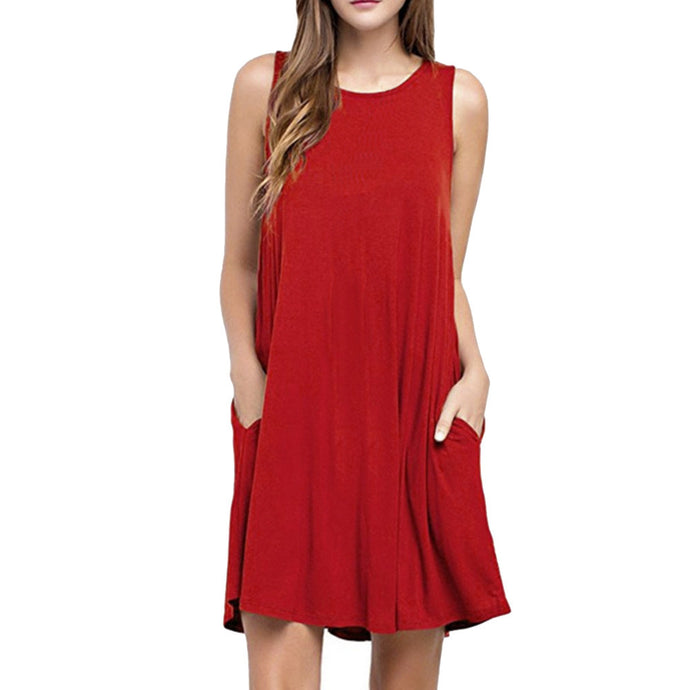 Women O Neck Casual Pockets Sleeveless Above Knee Dress Loose Party Dress