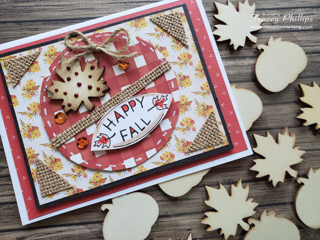 Wooden Leaf Fall Card