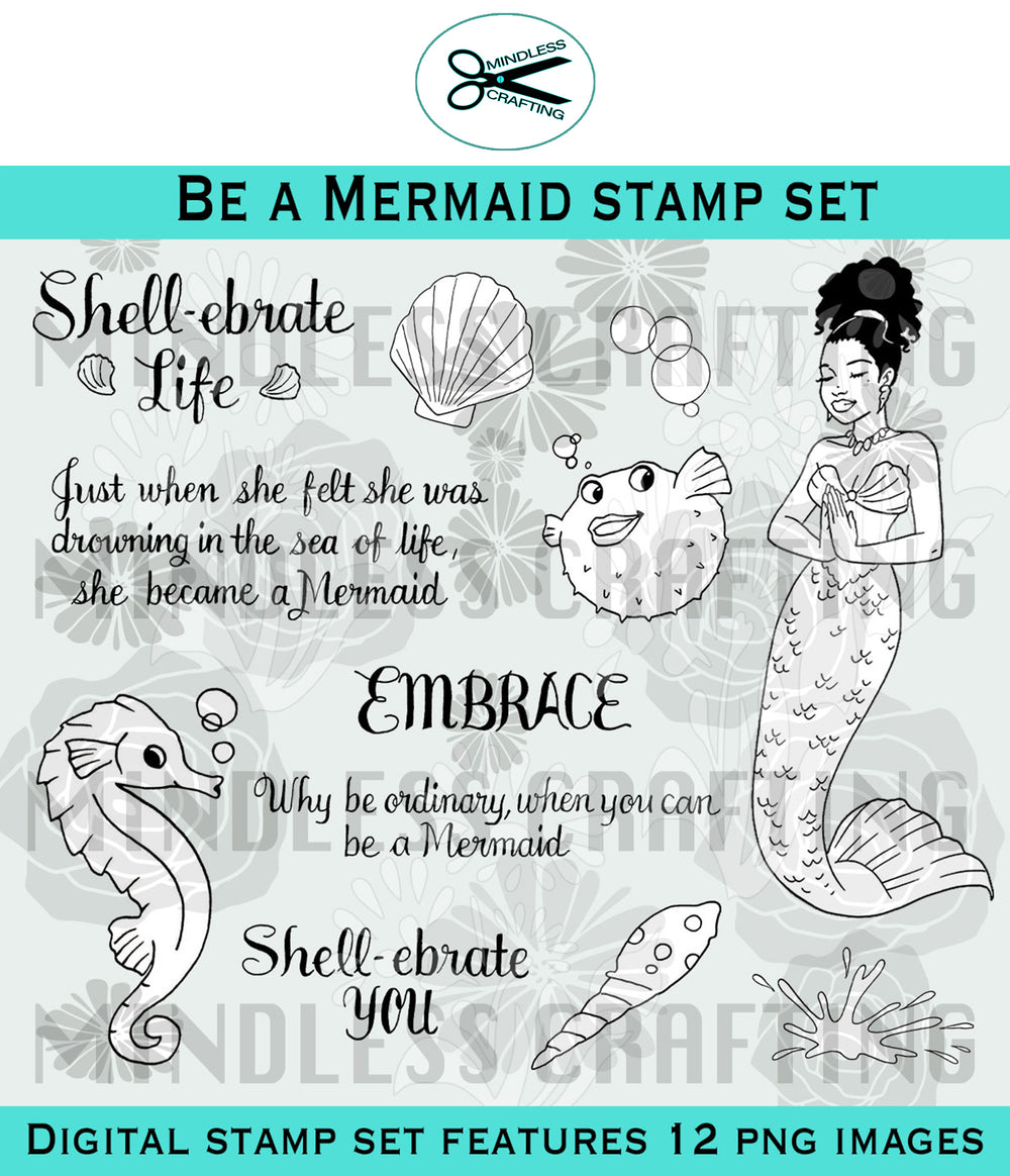 Be A Mermaid Digital Stamp Set