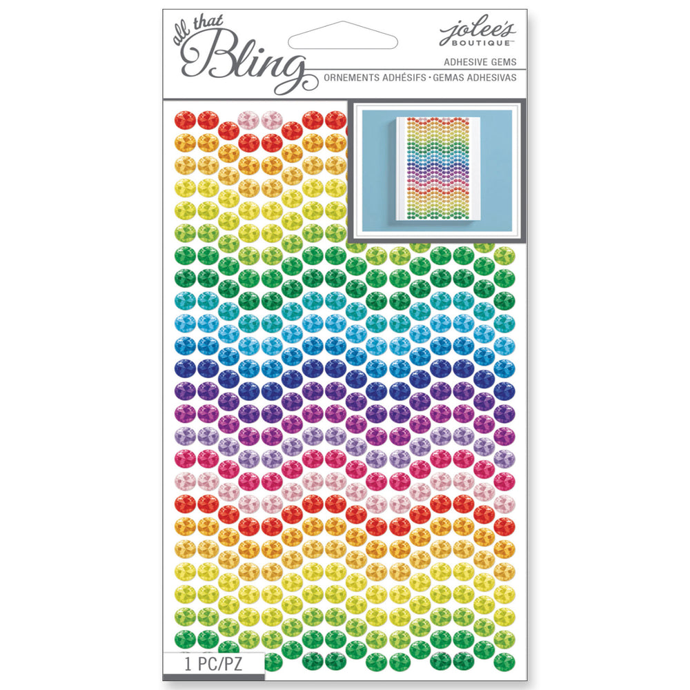 ALL THAT BLING Adhesive Gems - Rainbow Patterned