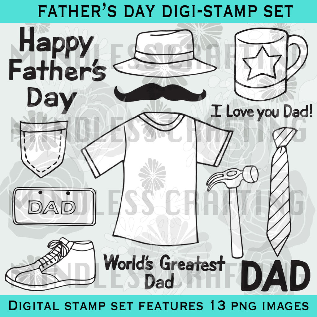 Happy Father's Day Digital Stamp Set