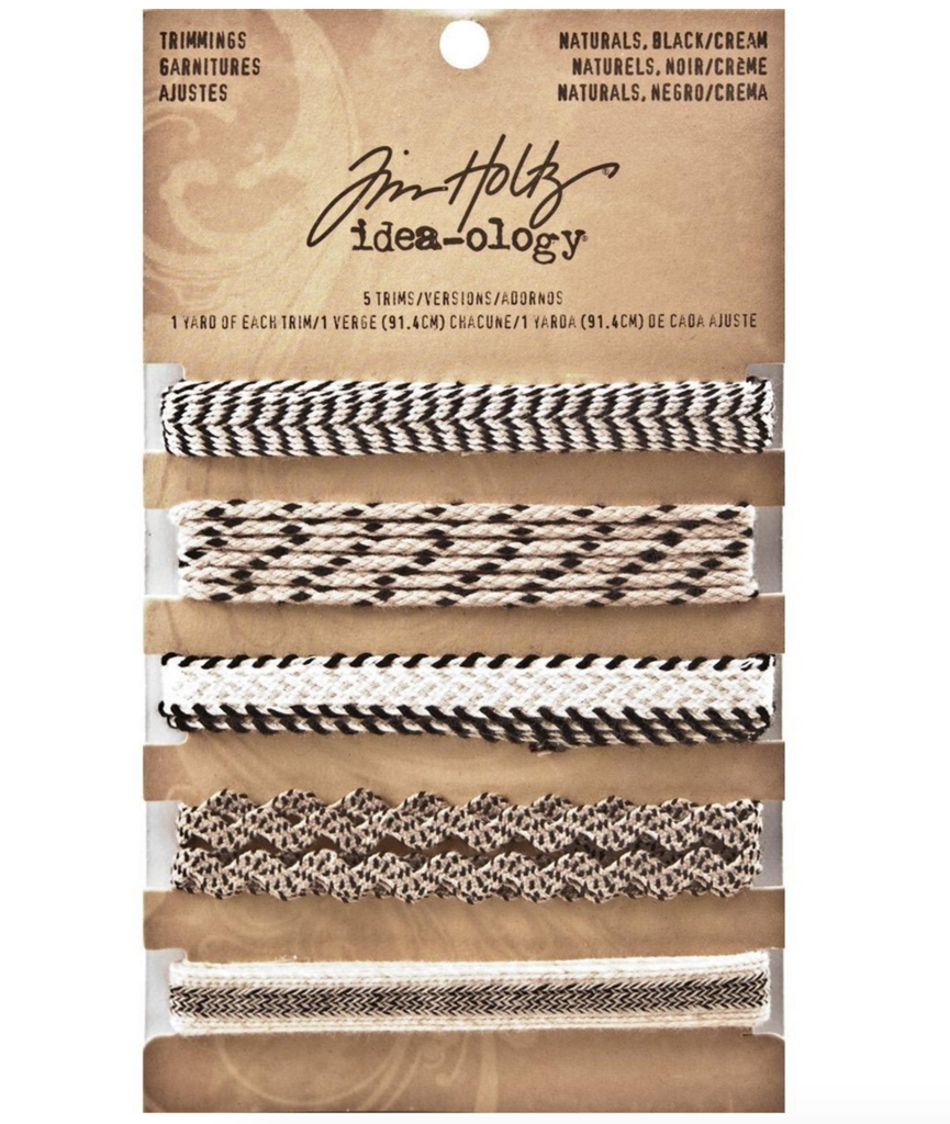 Tim Holtz Idea-ology TRIMMINGS - NATURALS, BLACK/CREAM