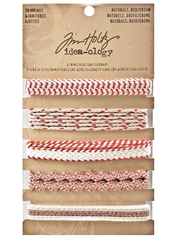 Tim Holtz Idea-ology TRIMMINGS - NATURALS, RED/CREAM