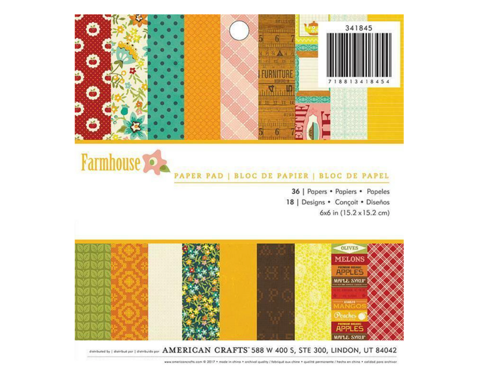 American Crafts - 6x6 PAPER PAD - FARMHOUSE