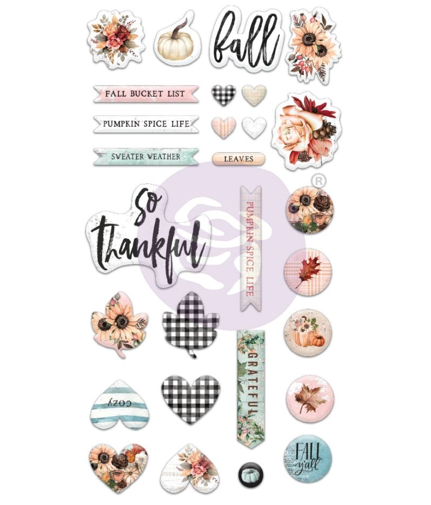 Prima PUMPKIN & SPICE Collection Puffy Stickers