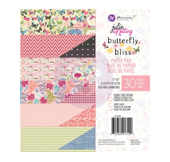 Prima Julie Nutting BUTTERFLY BLISS 6x6 Paper Pad