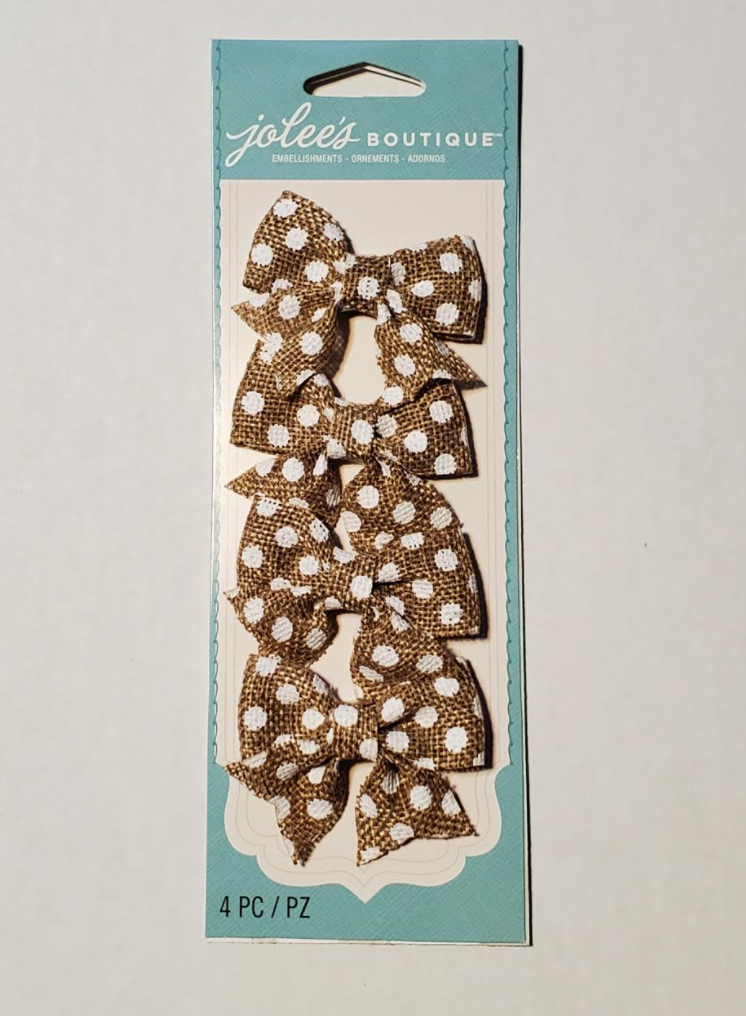 Polka Dot Burlap Bows - 4 Pack