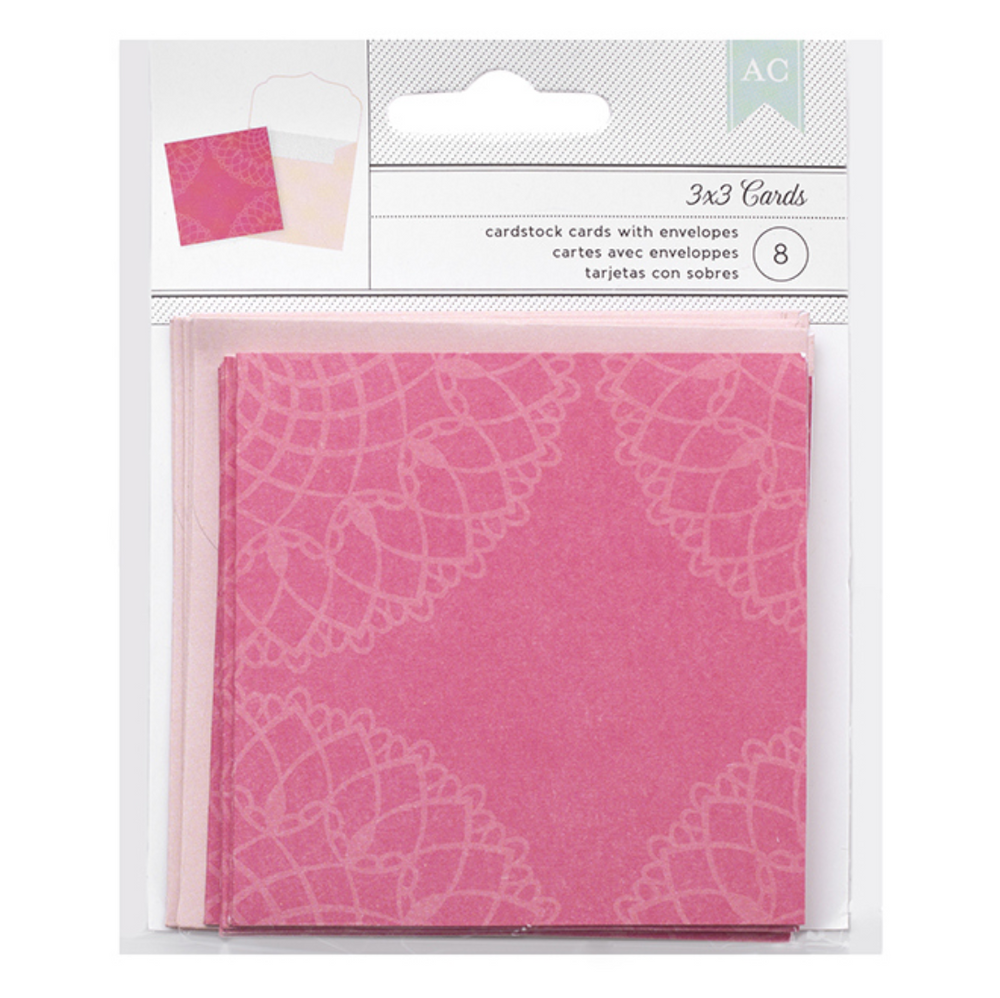 Bright Pink Doily Cards & Envelopes - 8 pack