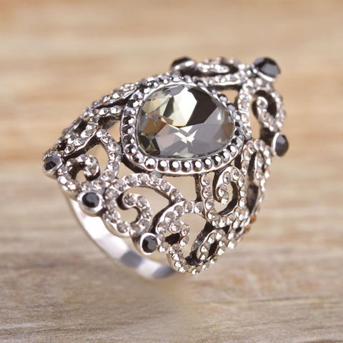Image of Women Vintage Style Jewelry Full Crystal Rhinestone Green Flower Ring
