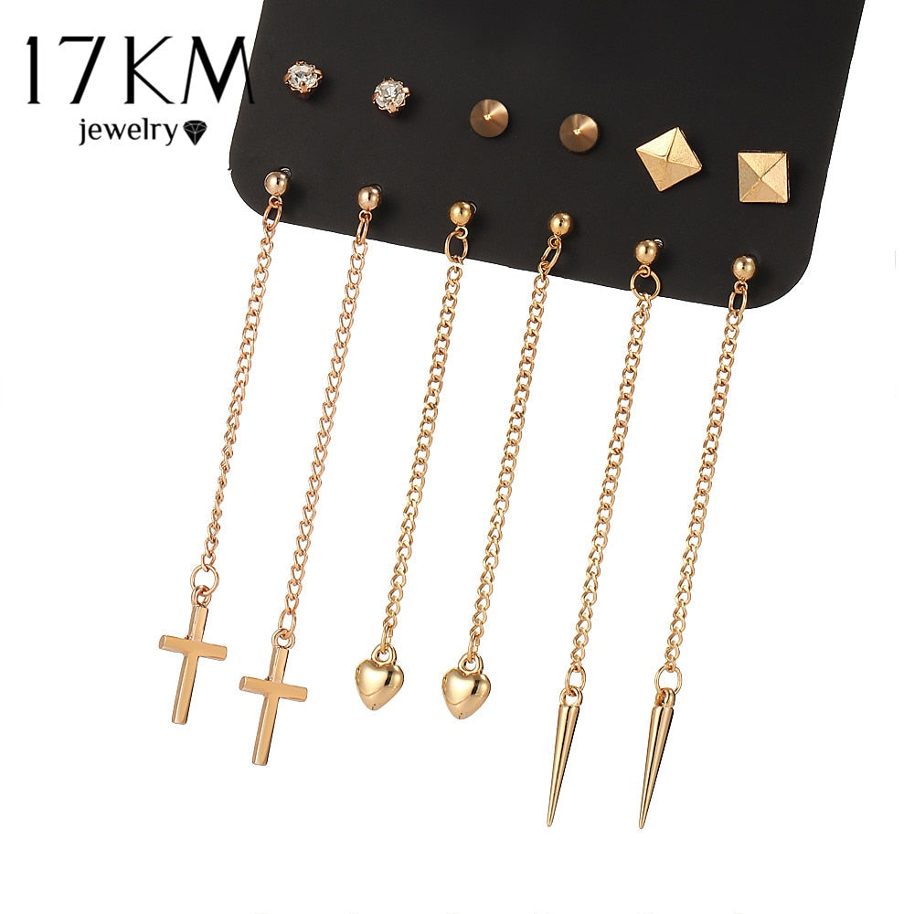 17KM Bijoux Geometric Long Tassel Earring Set Rivet Earrings For Women