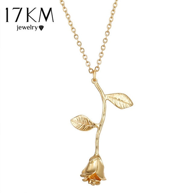 17KM Rose Flower Pendant Necklace For Women