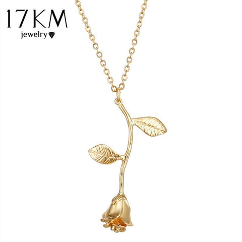Image of 17KM Rose Flower Pendant Necklace For Women