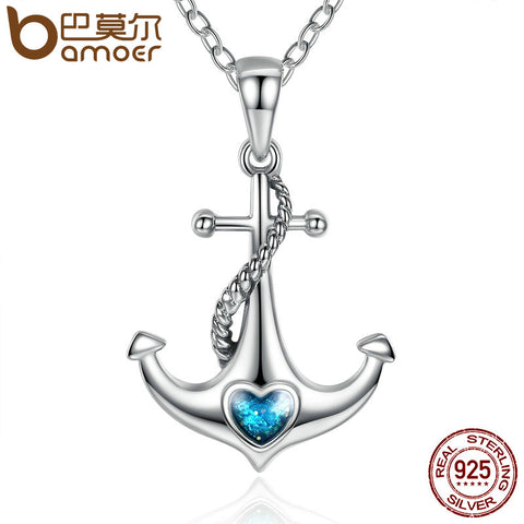 Classic 925 Sterling Silver Blue Heart Crystal Anchor Pendant Necklaces Women