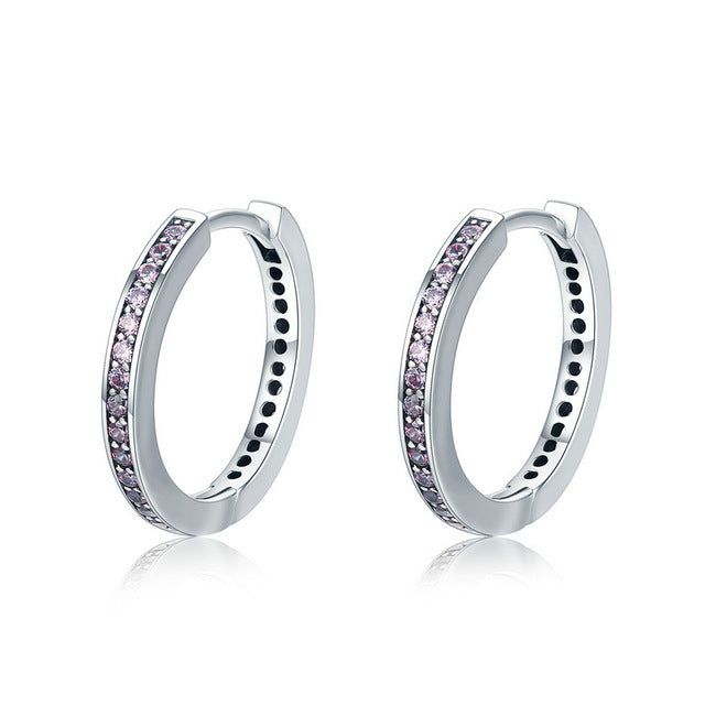 100% 925 Sterling Silver 4 Color Female Hoop Earrings for Women
