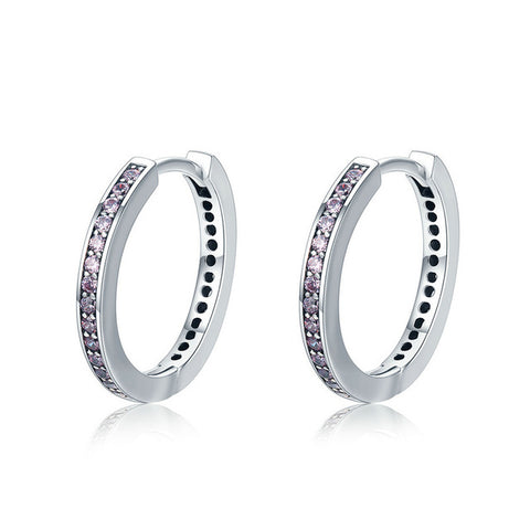 Image of 100% 925 Sterling Silver 4 Color Female Hoop Earrings for Women