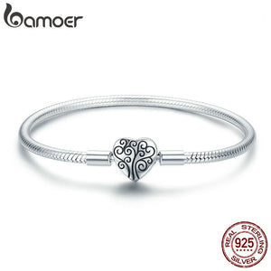 100% 925 Sterling Silver Spring Tree of Life Heart Shape Clasp Snake Chain Bracelet