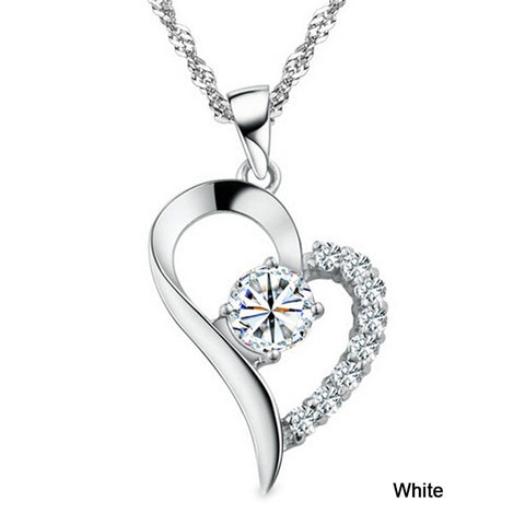 Image of Fashion Heart Shaped Rhinestone Pendant & Chain Necklace Jewelry