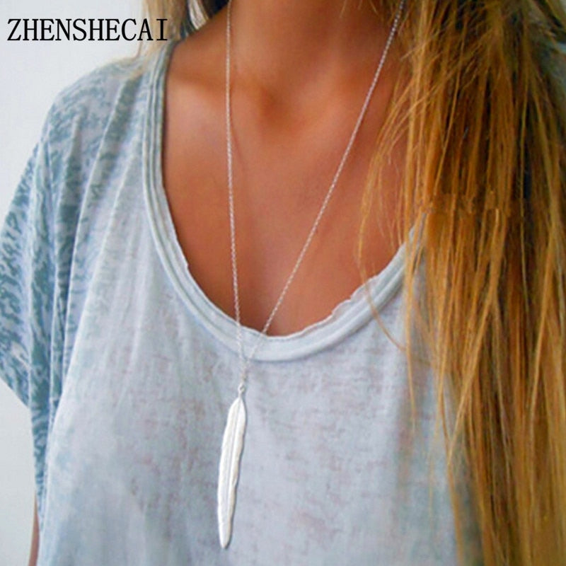 New Fashion Womens Vintage Long Simple Feather Pendant Necklace