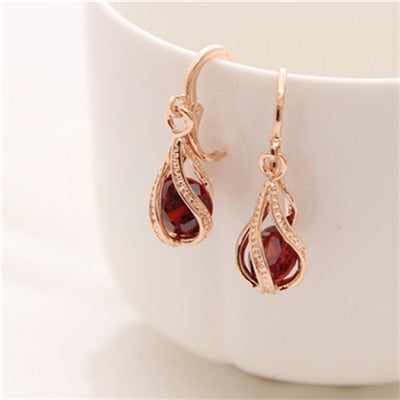 Image of Cubic Zirconia Drop Earrings Round Crystal Jewelry For Women