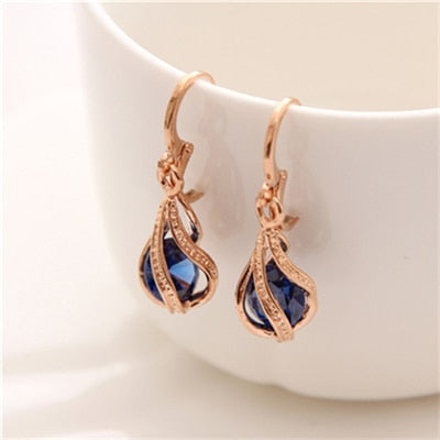 Cubic Zirconia Drop Earrings Round Crystal Jewelry For Women