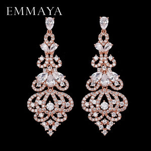 EMMAYA Luxury Long CZ Crystal Big Drop Dangle Earrings
