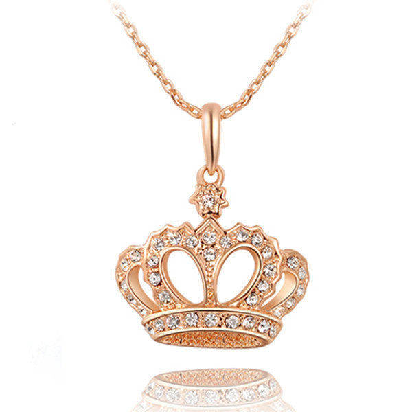 Ornate Crown Pendant Necklace