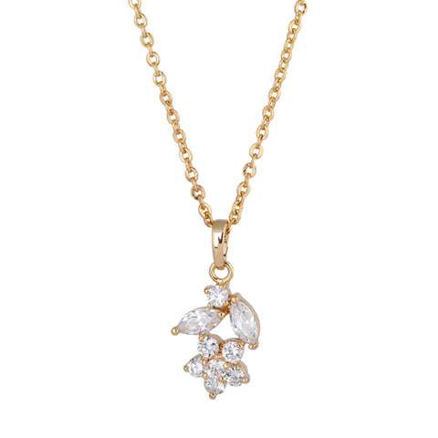 Women Necklace Floral Petals Shape Zincon Hollow out Necklace
