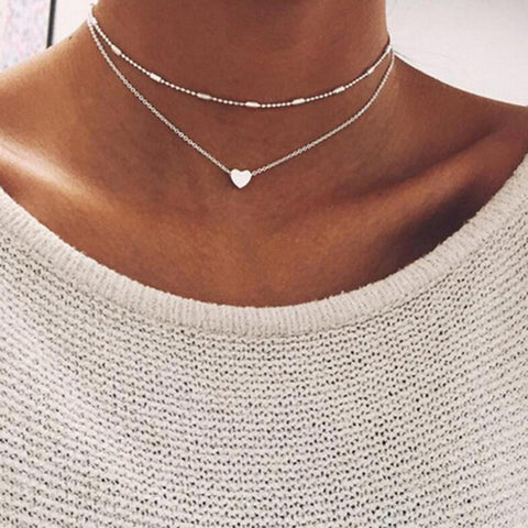 Chain Link Pendant Party Heart Street Alloy Choker Necklace