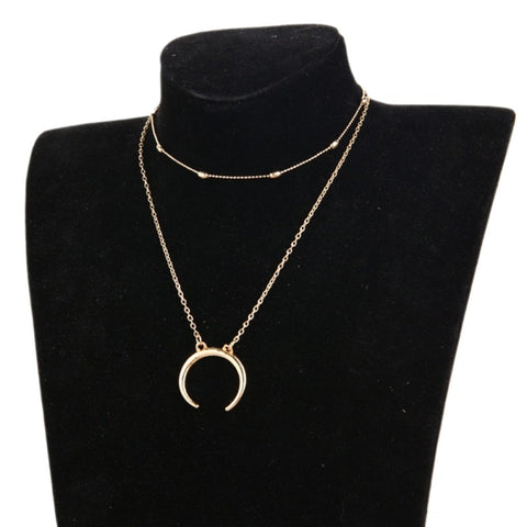 Double Horn Necklace Crescent Moon Necklace