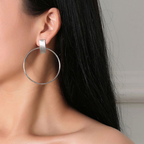 Minimalist Big Circle Round Earrings for Women Elegant Silver Color Geometric St