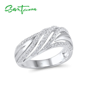SANTUZZA White Cubic Zirconia Stone Pure 925 Sterling Silver Chic Fashion Ring