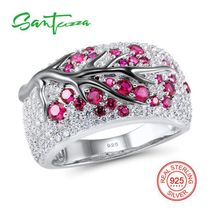 SANTUZZA Rubies Gem Stone Cubic Zirconia Ladies Ring 925 Sterling Silver
