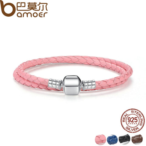Genuine Long Double Braided Leather Chain Women Bracelet with 925 Sterling Silver Snake Clasp