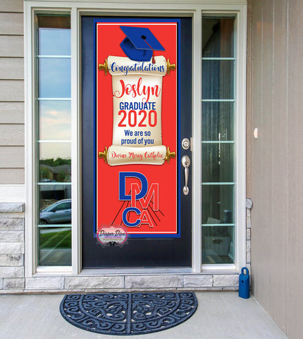 Graduation with Diploma Scroll Front Door Banner