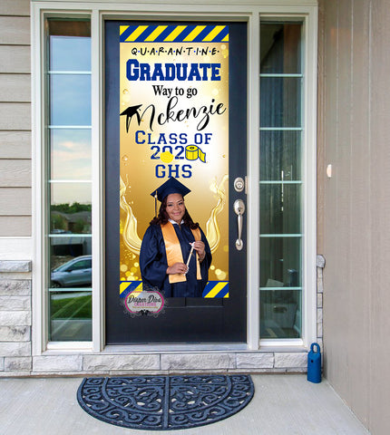 Graduation Blue, Gold, Yellow Front Door Banner