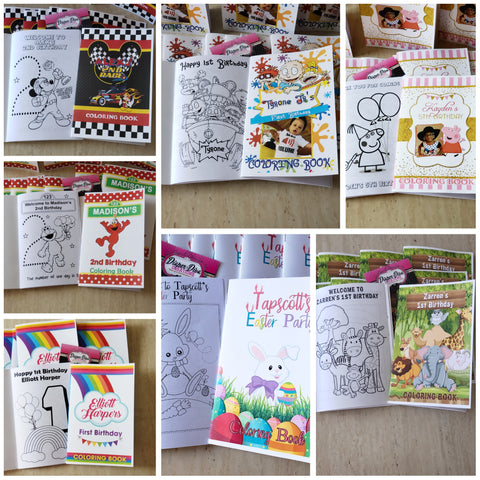 Coloring Books plus Crayon Pack (4 crayons)