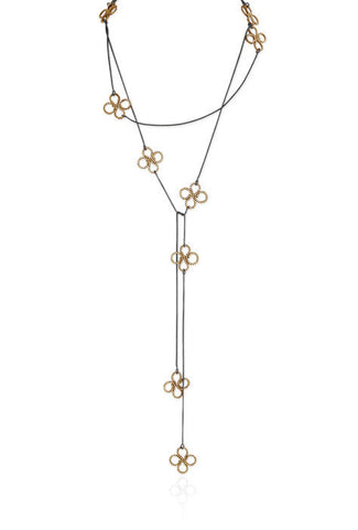 Long Convertible Clover Necklace in 14k Gold and Silver