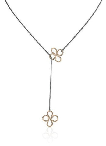 Double Clover Lariat in 14k Gold and Silver