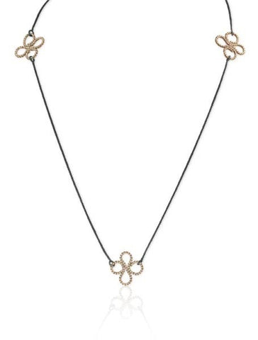 Triple Clover Necklace in 14k Gold and Silver
