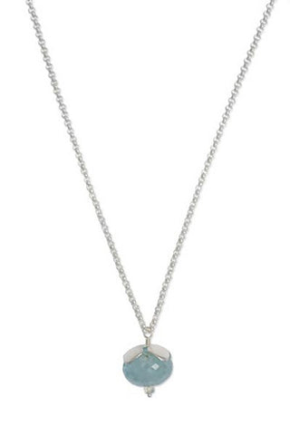 Sterling Silver, Aquamarine and Prehnite Flower Necklace