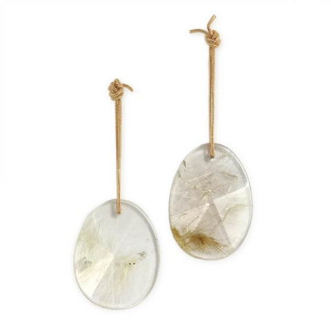 Knotted 14k Gold and Rutilated Quartz Earrings