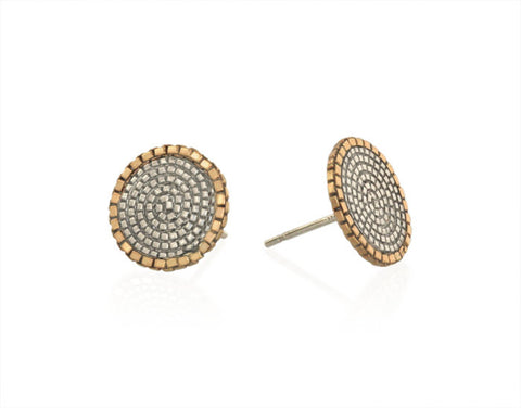 Spiral Studs in 14k Gold and Silver